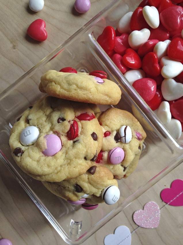 M&M Chocolate Chip Cookies. Happy Valentine's Day!