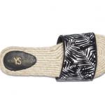Yosi Samra - Reese Palm Tree Printed - Black and White Leather Slide