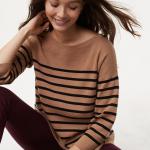 Striped split back sweater