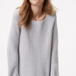 Cuffed Ribbed Gray Sweater