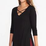Black Criss Cross Tunic Top