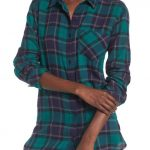 Nordstrom green and blue plaid top