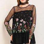 Embroidered Swiss Dot Top
