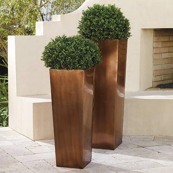 Outdoor Copper Column Planter
