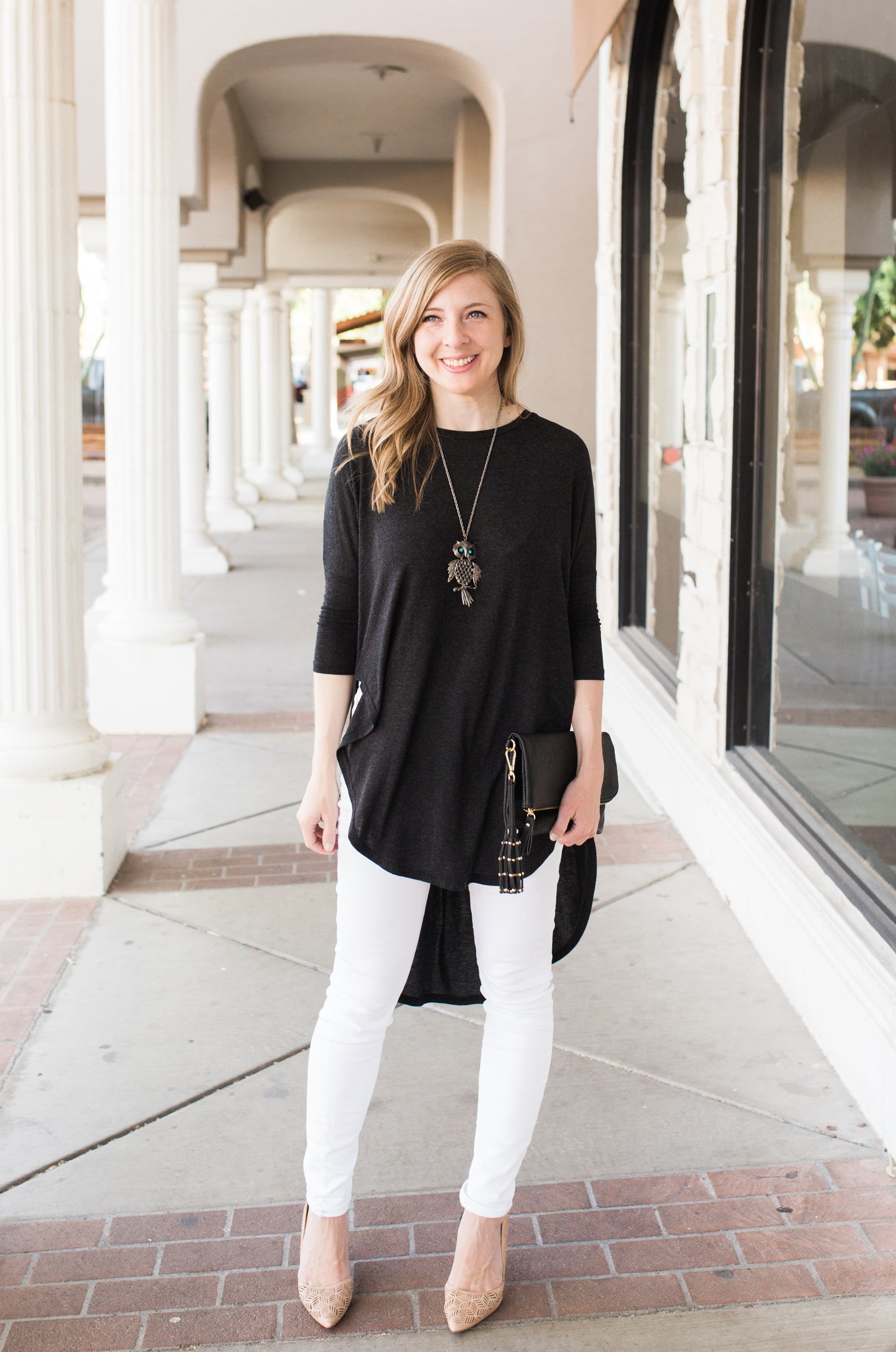 Gray Tunic and White Jeans