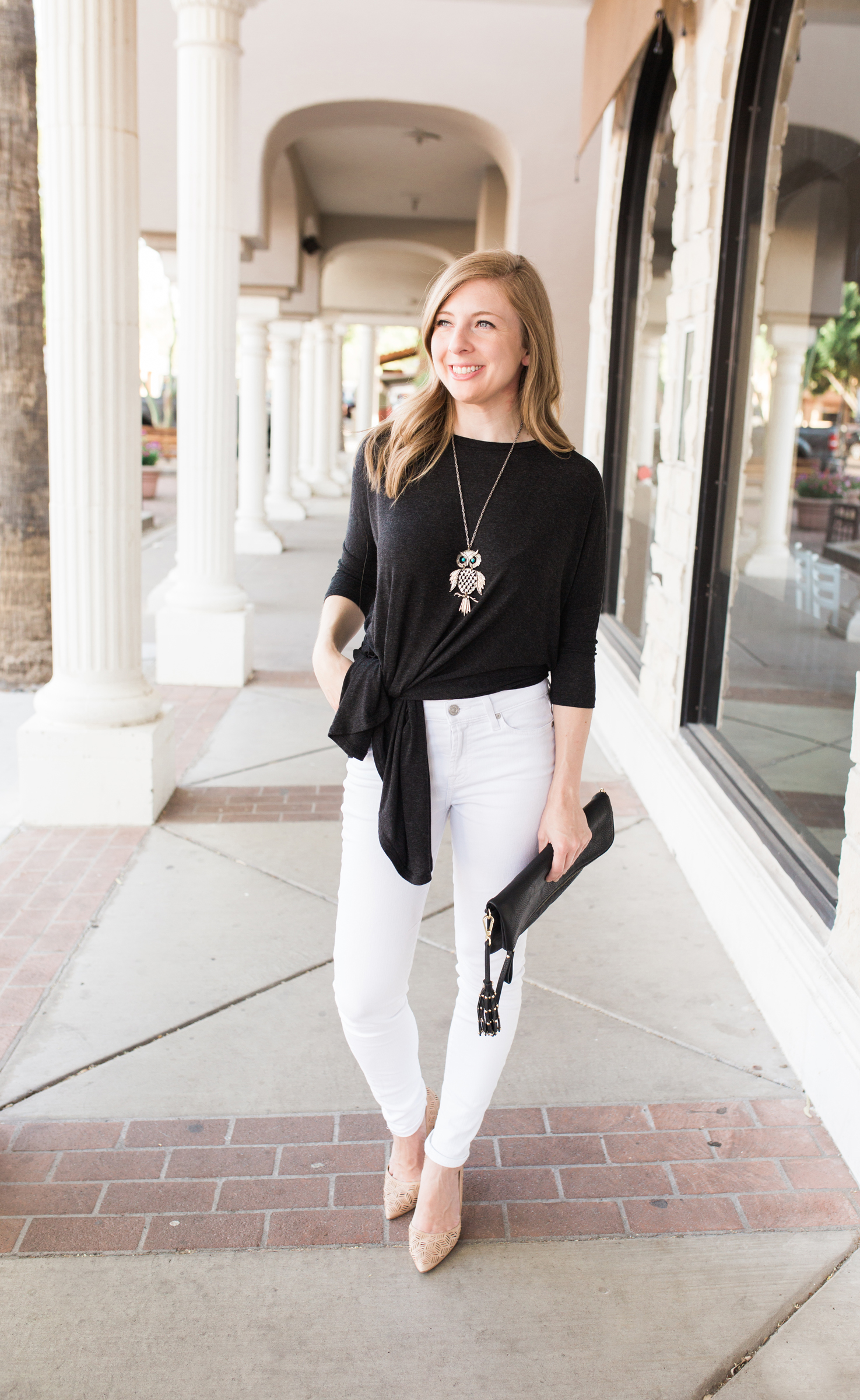 Versatile tunic tied in a knot