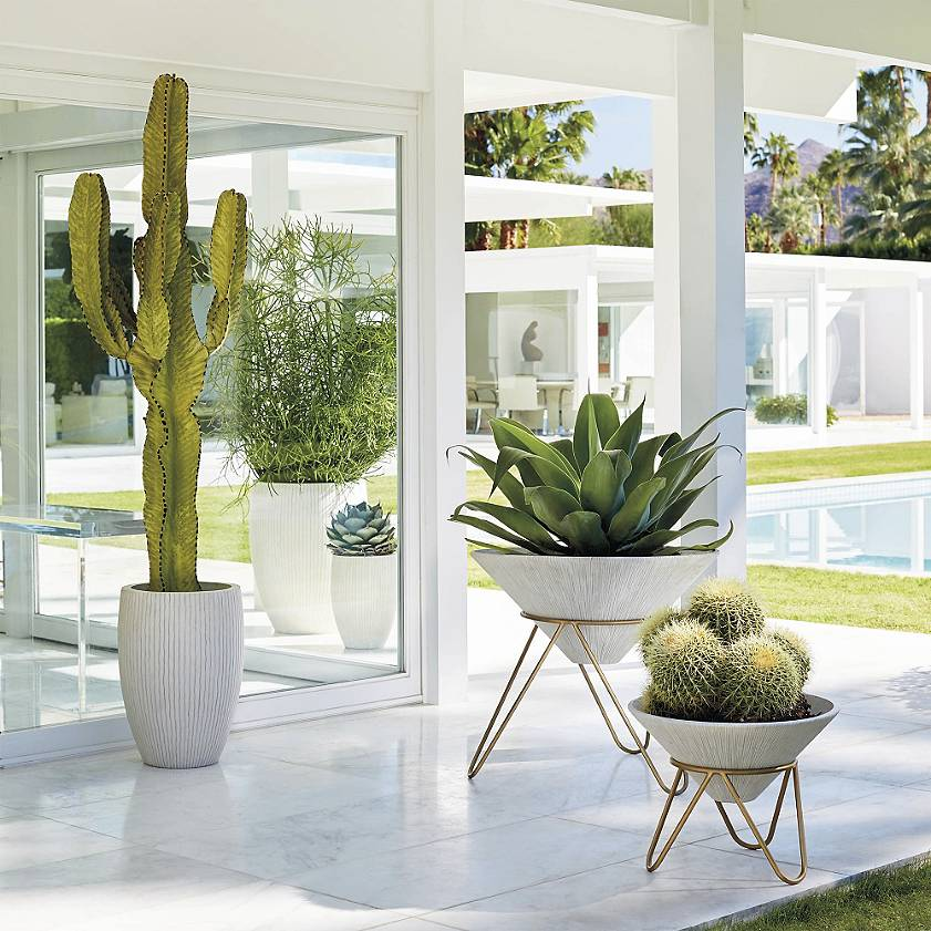 Contemporary Outdoor Planter with steel tripod base