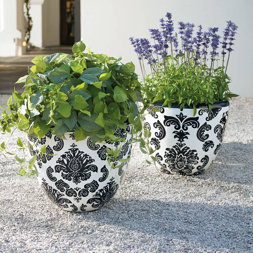 Black and White Ceramic Planter