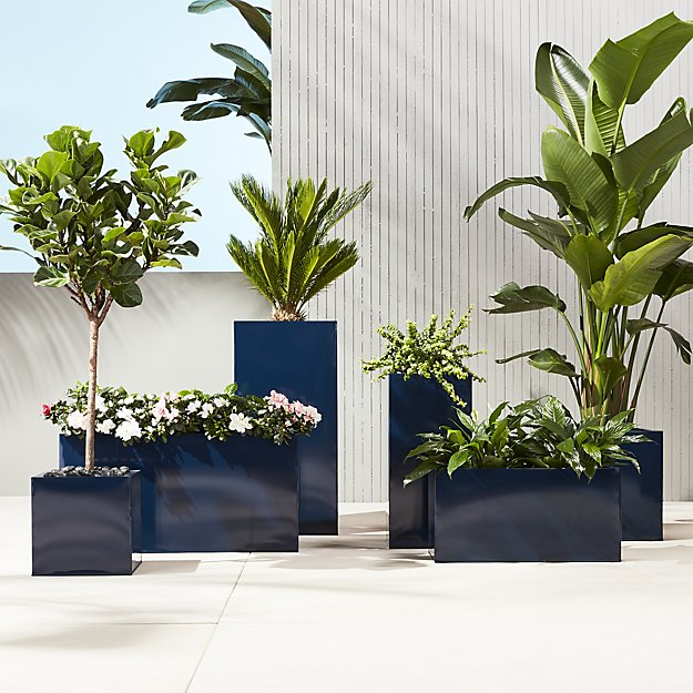 High Gloss Tall Navy Outdoor Planters
