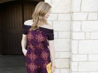 Purple Off-The-Shoulder Jumpsuit