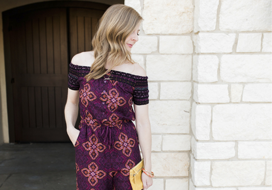 Purple Patterned Jumpsuit