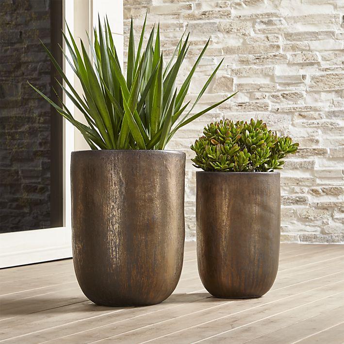 Metallic Bronze outdoor Planter