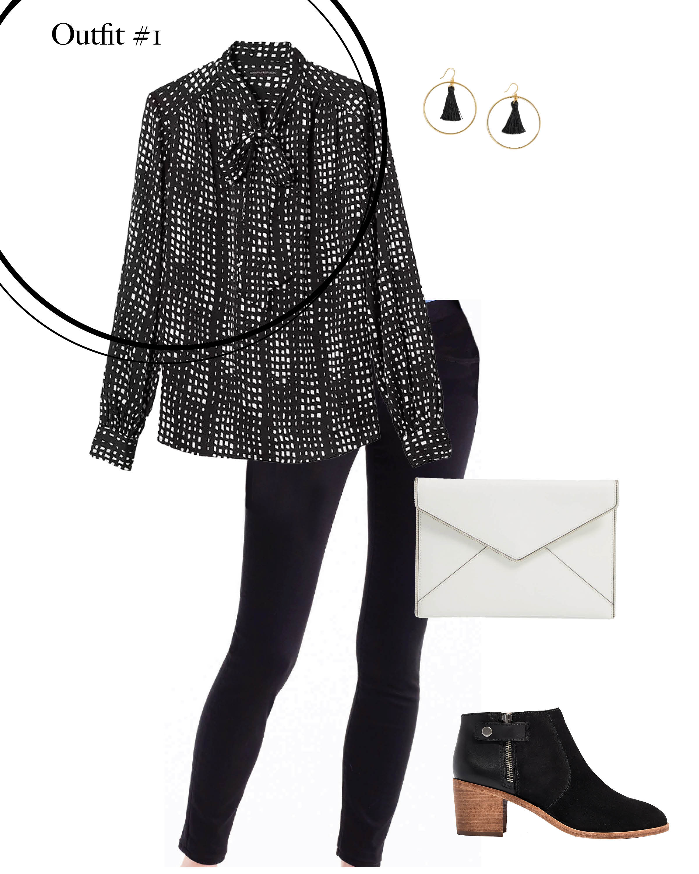black blouse, black jeans, white clutch and black booties