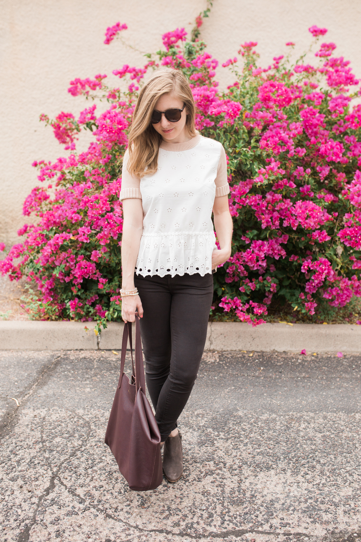 Peplum and Eyelet Blush Top and gray jeans