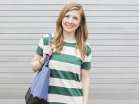 Striped Green and White Dress