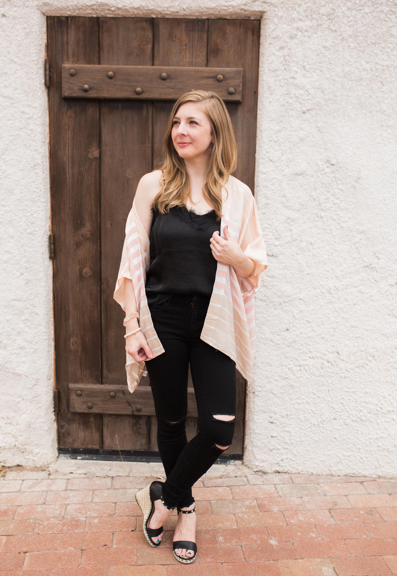 Pastel Kimono, black lace camisole, black distressed jeans