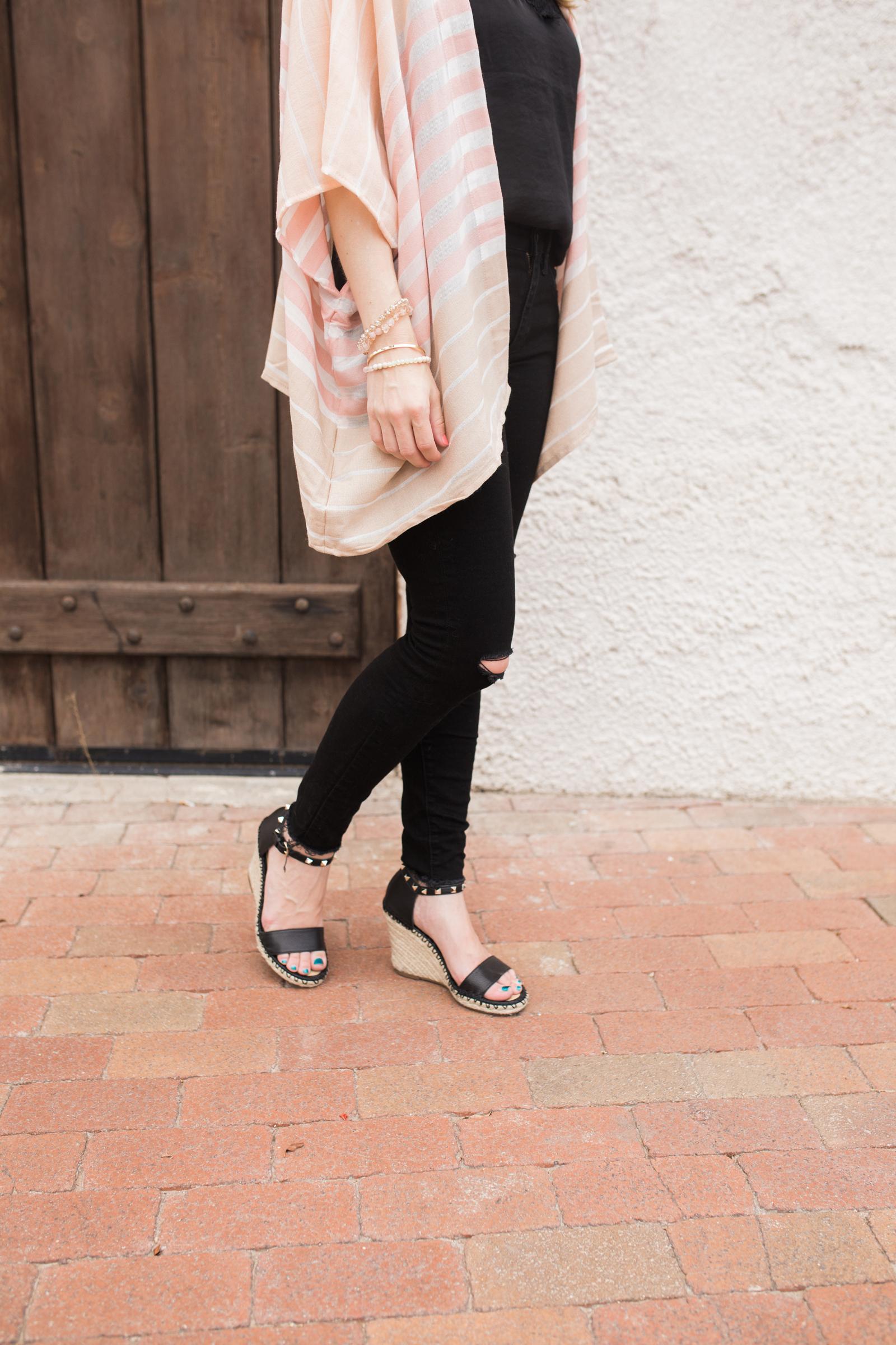 Pastel Kimono, black lace camisole, black distressed jeans, black wedge sandals