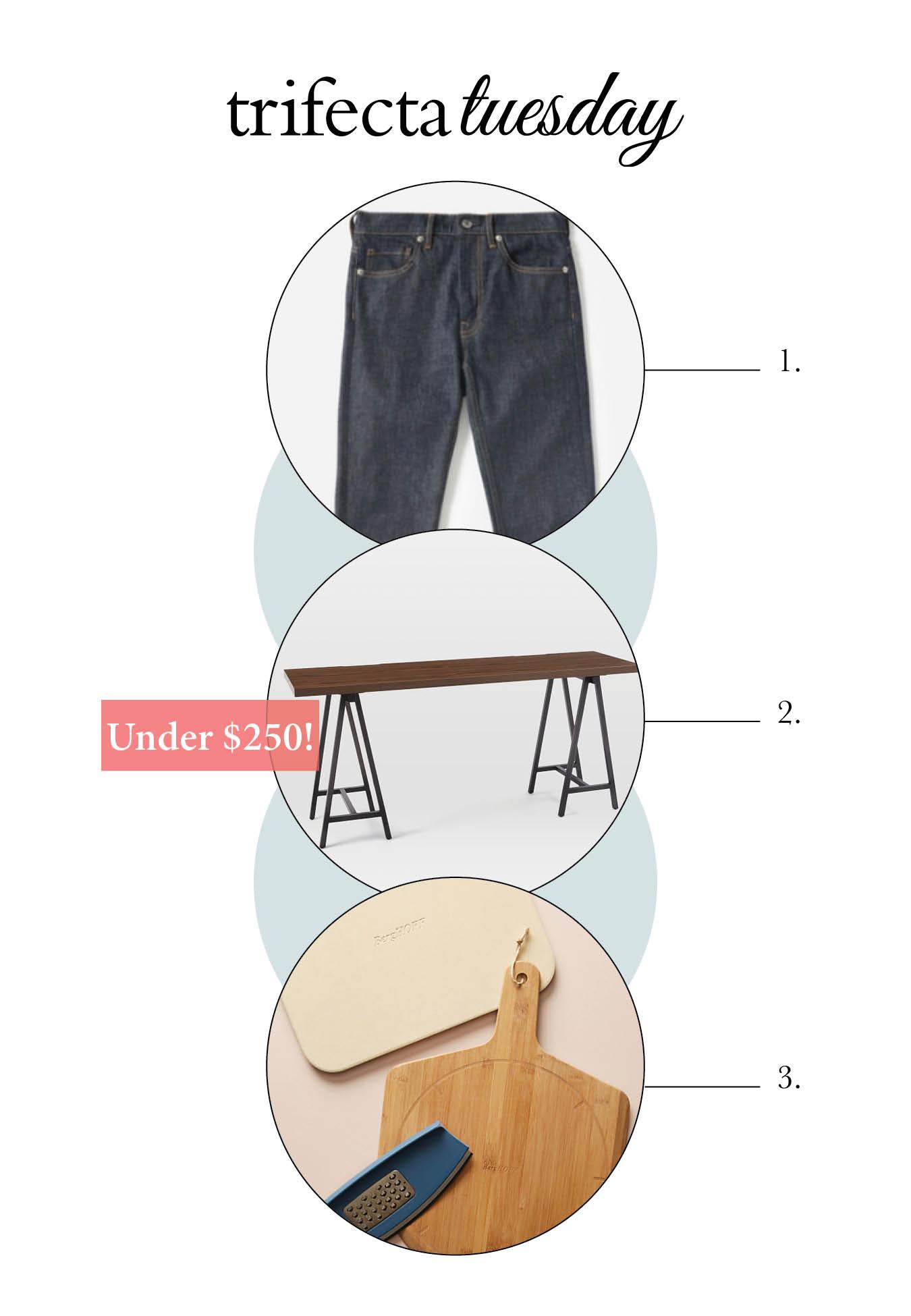 Skinny jeans, desk, pizza set