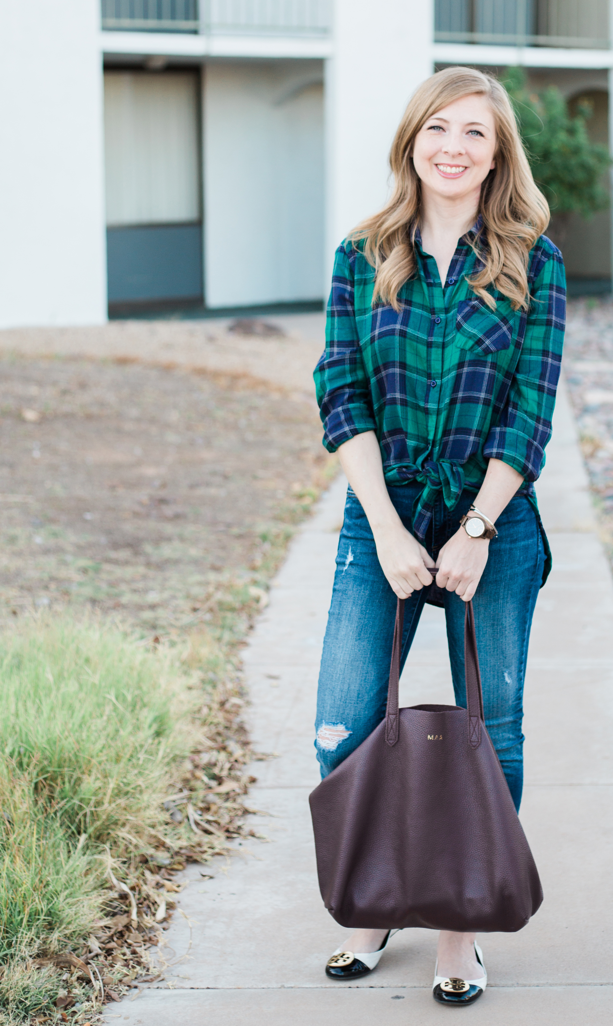 blue and green plaid button down top
