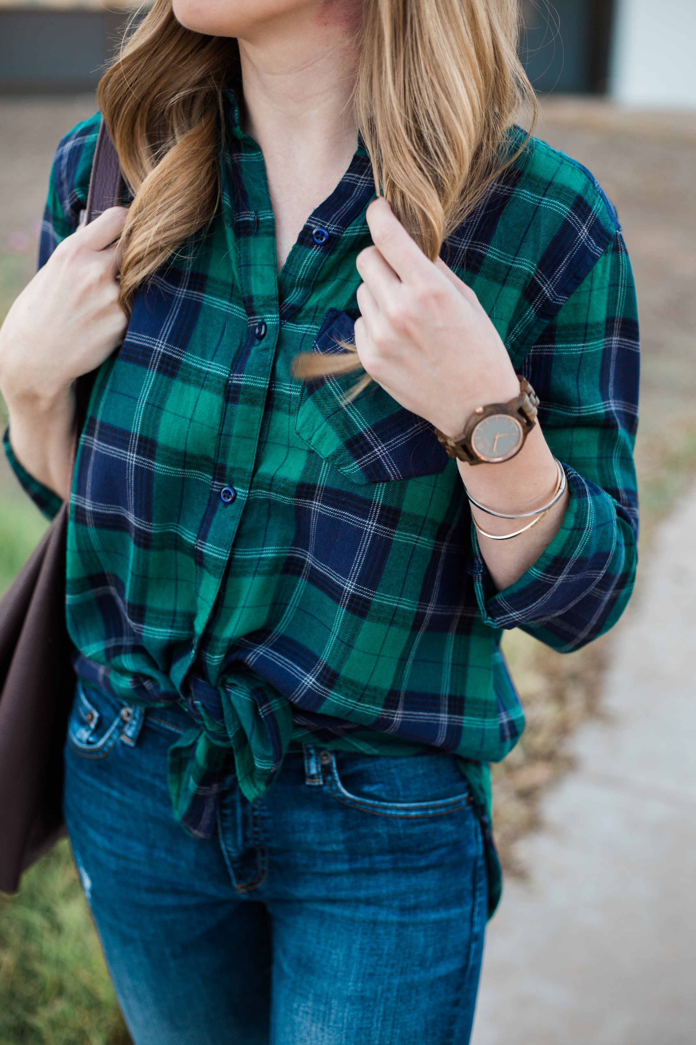 Blue and green plaid top