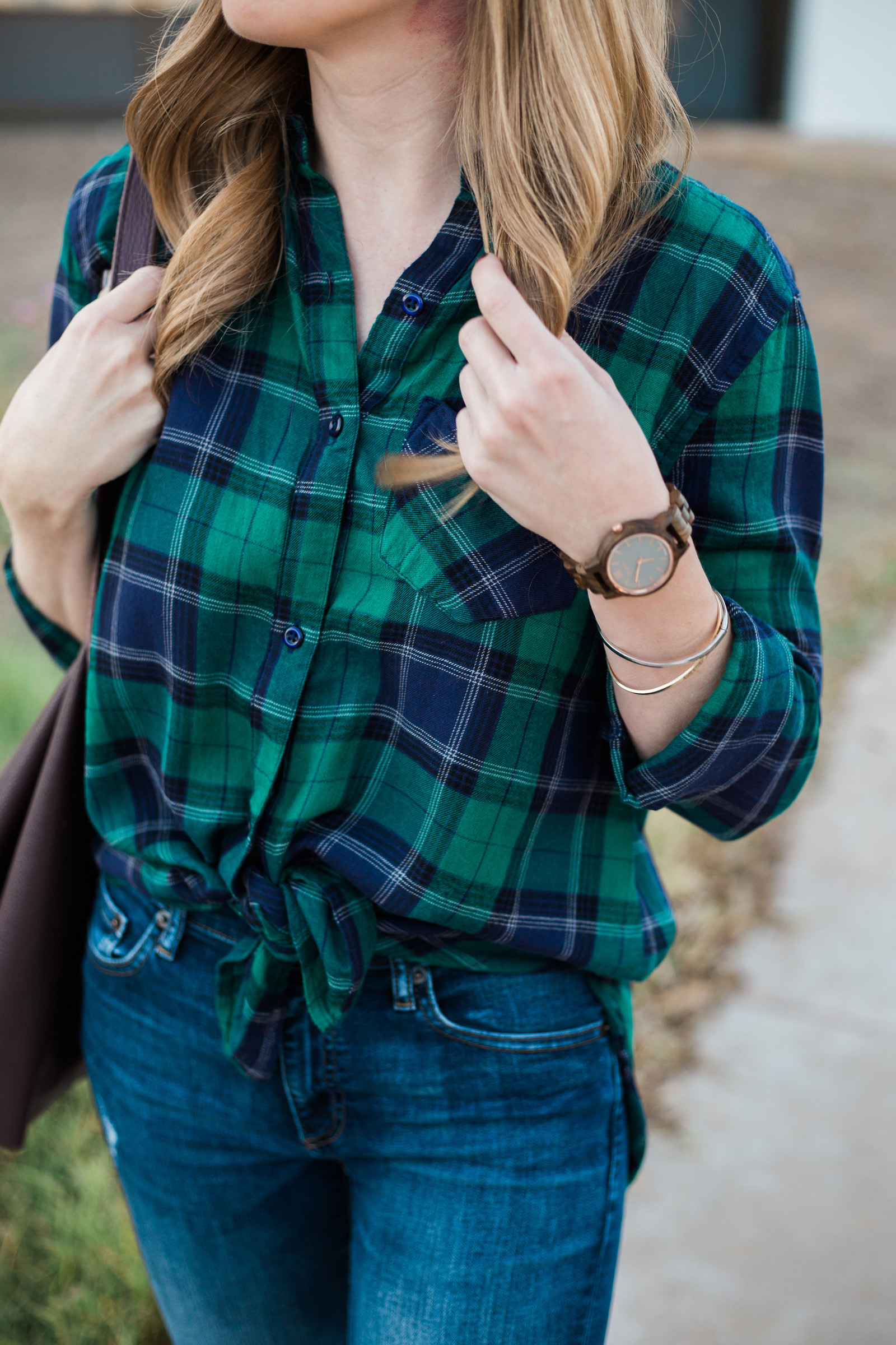 Plaid Shirt and Jord Watch
