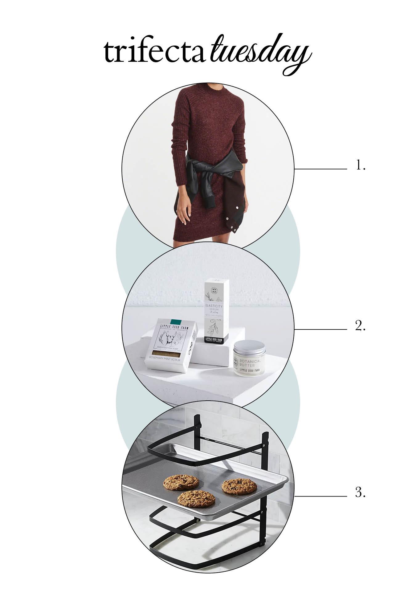 sweater dress, gift set, baking rack