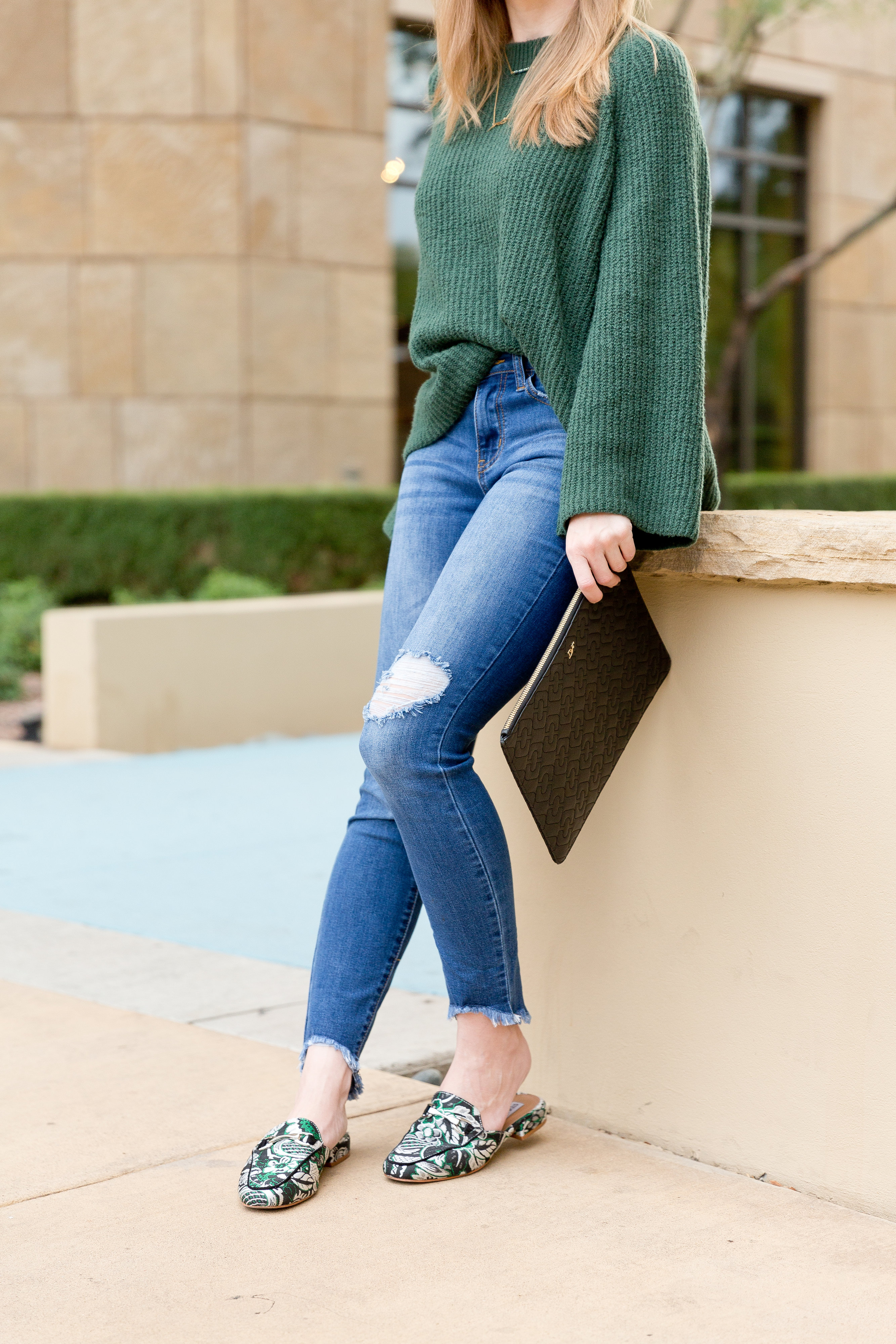 Bell Sleeve Sweater and printed mule shoes