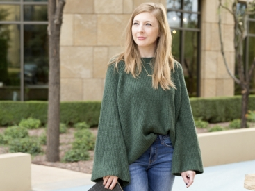 Green Bell Sleeve Sweater & Printed Mules