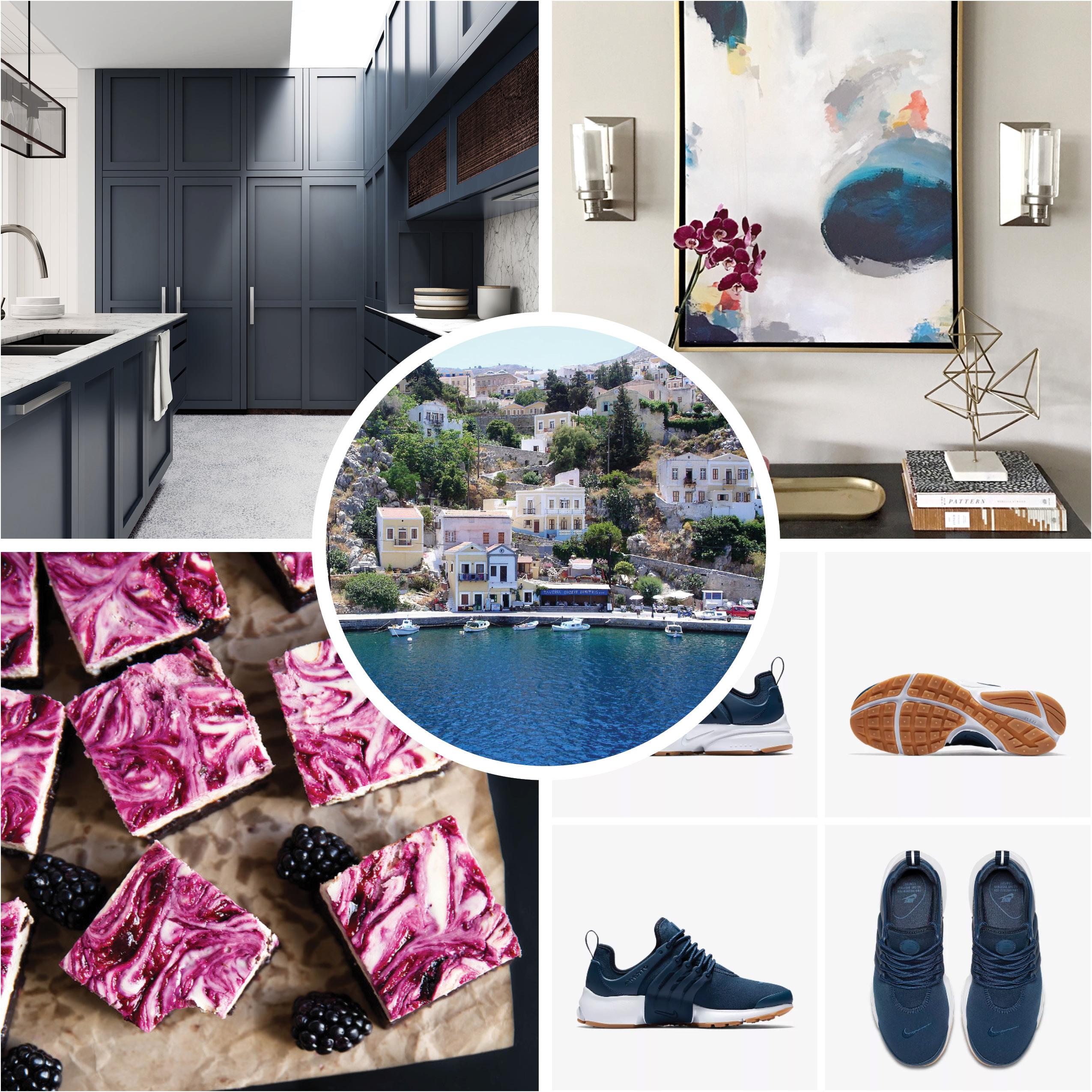 dessert, tennis shoes, artwork, navy kitchen