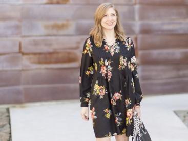 Springtime Black Floral Dress