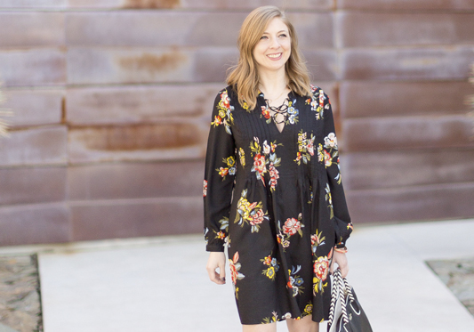 Springtime Black Floral Dress
