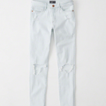 A&F low rise distressed ankle jean