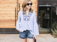 Striped, bell sleeve top and denim shorts