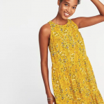 Old Navy Tiered Swing Dress - Mustard Color
