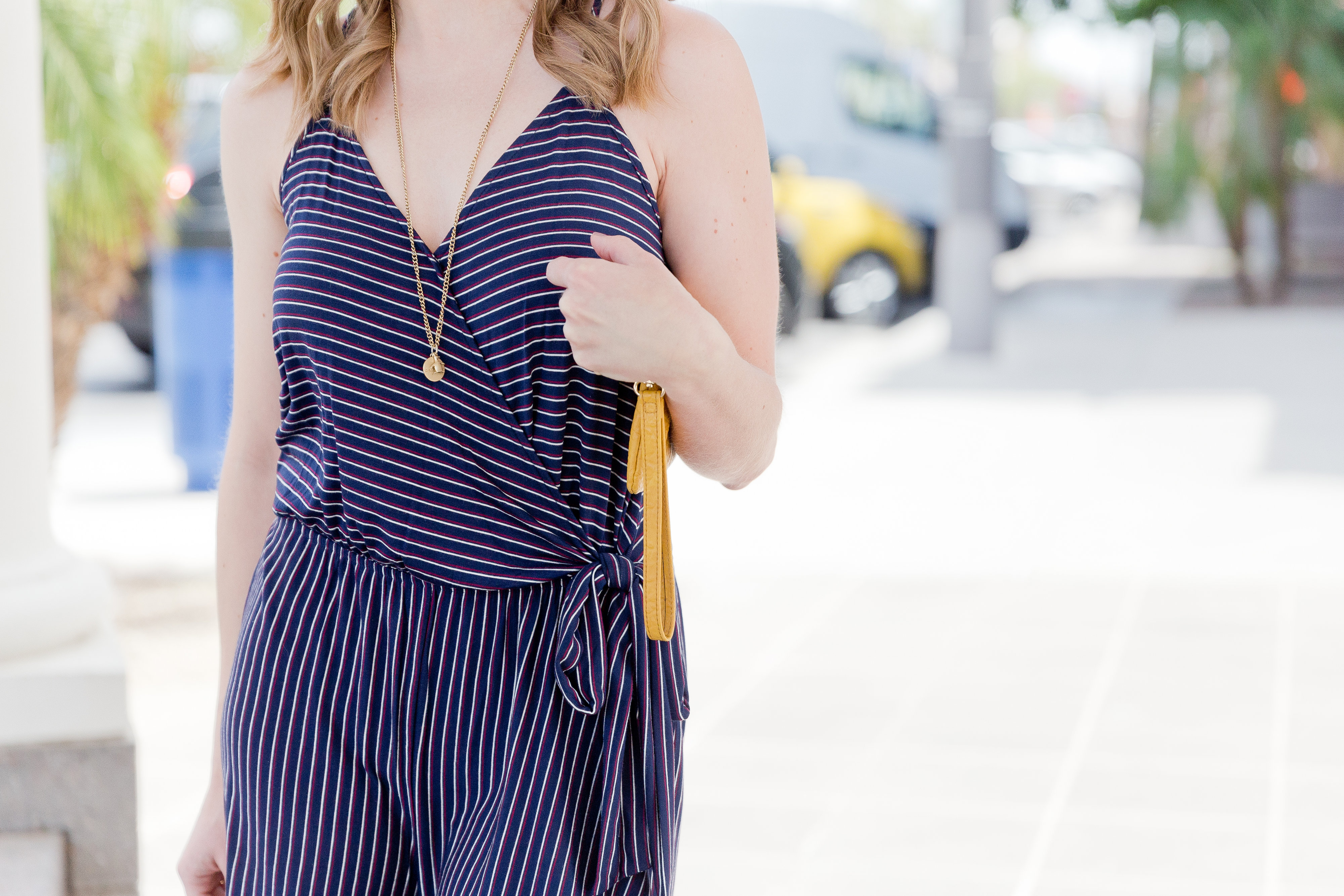 Faux wrap striped romper