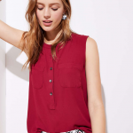 Loft Henley Pocket Mixed Media Shell Top