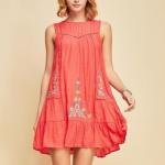 Kute n' Klever Coral Drop Waist Dress