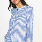 Old Navy Relaxed Ruffle Trim Button Down